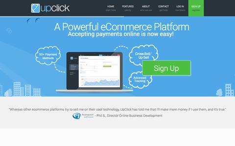 Screenshot of Home Page upclick.com - Upclick - The ultimate payment gateway and eCommerce platform | index - captured Sept. 22, 2014