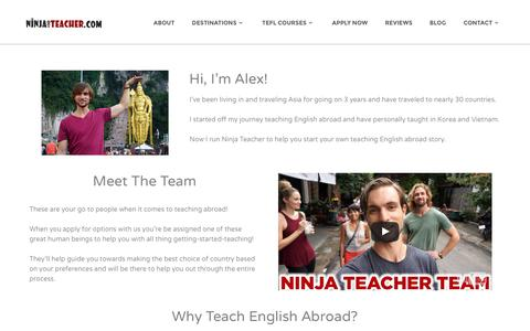 Screenshot of About Page ninjateacher.com - Start Here • Teach English Abroad - NinjaTeacher.com - captured Dec. 7, 2016