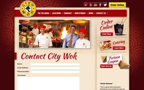 Screenshot of Contact Page citywok.com - Contact Us | City Wok - captured Sept. 29, 2014