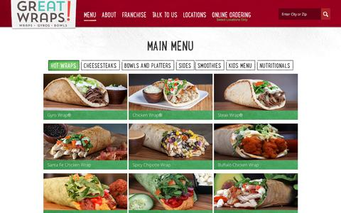 Screenshot of Menu Page greatwraps.com - The Menu - captured Sept. 26, 2018