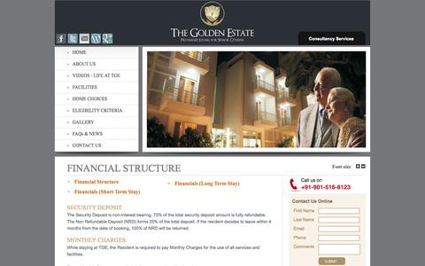 Screenshot of Pricing Page thegoldenestate.com - Senior Citizen Old Age Homes in Faridabad, Delhi at TheGoldenEstate.com - captured Oct. 3, 2014