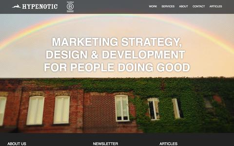 Screenshot of Home Page hypenotic.com - Hypenotic | Marketing Strategy, Design & Development for people doing good - captured Sept. 30, 2014