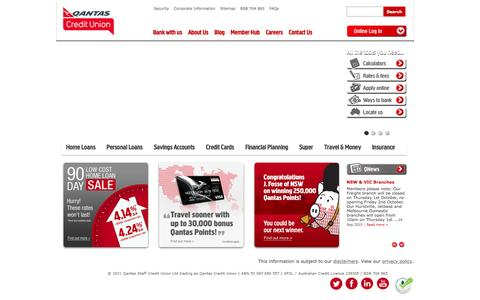 Screenshot of Home Page qantascu.com.au - Qantas Credit Union - Personal Banking, Finance and Loans - captured Oct. 25, 2015