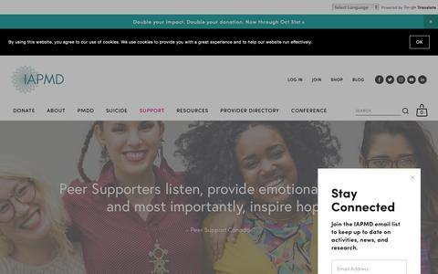 Screenshot of Support Page iapmd.org - Peer Support — IAPMD - captured Nov. 2, 2018