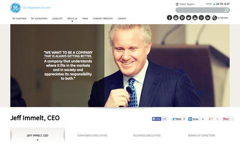 Screenshot of Team Page ge.com - Jeff Immelt, CEO | GE.com - captured Oct. 10, 2014
