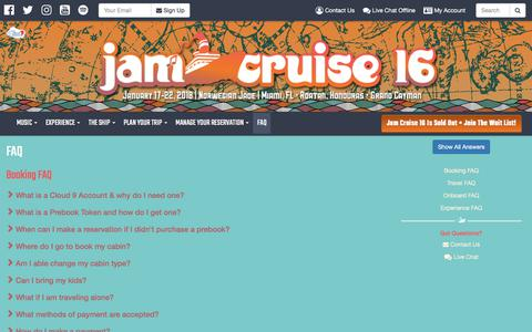 Screenshot of FAQ Page jamcruise.com - FAQ | Jam Cruise 16 - captured June 26, 2017