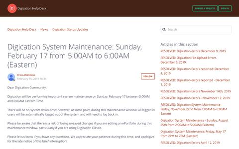 Screenshot of Support Page digication.com - Digication System Maintenance: Sunday, February 17 from 5:00AM to 6:00AM (Eastern) – Digication Help Desk - captured Jan. 8, 2020