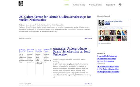 Screenshot of Home Page scholarships-international.com - Scholarships for International Students : PhD, Masters, Fellowships 2014-2015 - captured Sept. 19, 2014