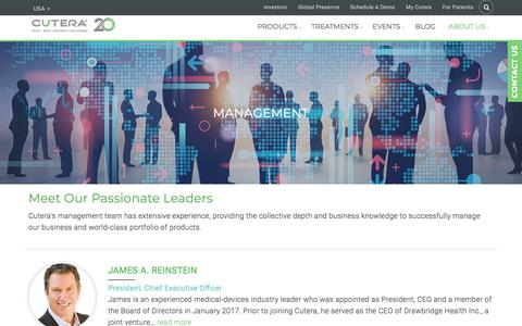 Screenshot of Team Page cutera.com - Management | CUTERA - captured July 19, 2018