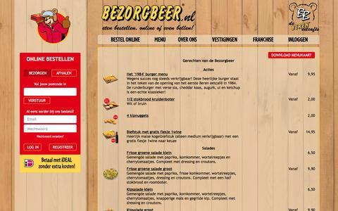 Screenshot of Menu Page bezorgbeer.nl - Online eten bestellen doe je bij de Bezorgbeer - captured Jan. 24, 2016