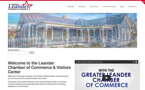 Screenshot of Home Page leandercc.org - Greater Leander Chamber of Commerce - captured Oct. 3, 2014