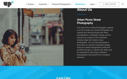 Screenshot of About Page urbanpicnic-streetphotography.com - About Us - Urban Picnic Street Photography - captured Sept. 23, 2018