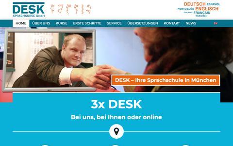 Screenshot of Home Page desk-sprachkurse.de - DESK - Ihre Sprachschule in München - DESK Sprachkurse - captured Oct. 8, 2018
