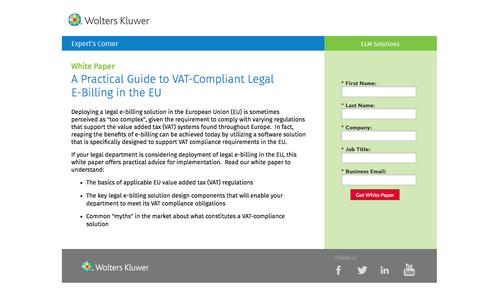 Screenshot of Landing Page datacert.com - White Paper: A Practical Guide to VAT-Compliant Legal E-Billing in the EU - captured Aug. 17, 2016
