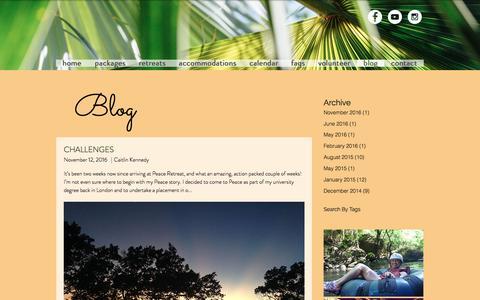 Screenshot of Blog peaceretreat.ca - Peace Retreat Costa Rica Yoga Retreats and Wellness   blog - captured Dec. 28, 2016