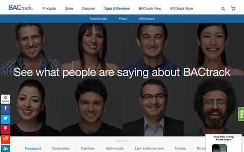 Screenshot of Testimonials Page bactrack.com - Buzz & Reviews - captured May 17, 2017