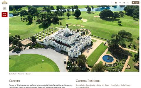 Screenshot of Jobs Page stokepark.com - Careers at Stoke Park   Luxury 5 Star Hotel, Spa and Golf Club in Buckinghamshire - captured Sept. 22, 2018