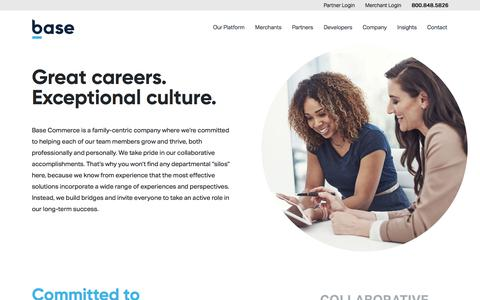 Screenshot of Jobs Page basecommerce.com - Payments Technology Careers I Base - captured Feb. 21, 2020