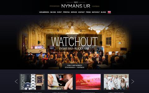 Screenshot of Home Page nymansur.com - Klocka - Exklusiva klockor & armbandsur - Märkesklockor | Nymans Ur - captured Sept. 23, 2014