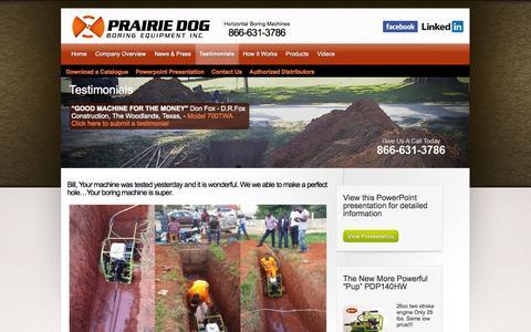 Screenshot of Testimonials Page undergroundequip.com - Prairie Dog – Testimonials - captured Nov. 2, 2014