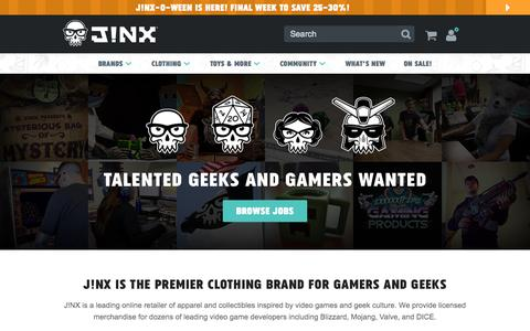 Screenshot of Jobs Page jinx.com - J!NX : Job Openings - captured Oct. 27, 2015