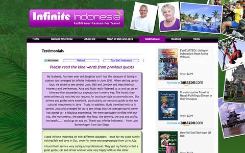 Screenshot of Testimonials Page infiniteindonesia.com - Infinite Indonesia  » Testimonials - captured June 7, 2017