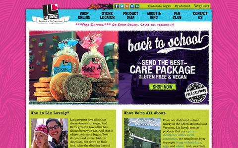 Screenshot of Home Page lizlovely.com - Liz Lovely Gluten Free & Vegan Cookies Shop - captured Oct. 3, 2014