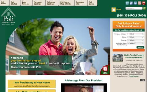 Screenshot of Home Page polimortgage.com - Mortgages | Rates | Home Loans | Poli Mortgage Group | Massachusetts - captured Oct. 3, 2014