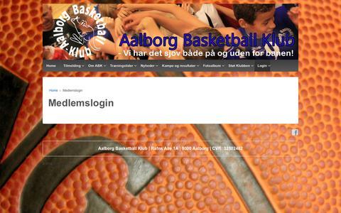 Screenshot of Login Page aalborgbasket.dk - Medlemslogin – Aalborg Basketball Klub - captured Oct. 2, 2018