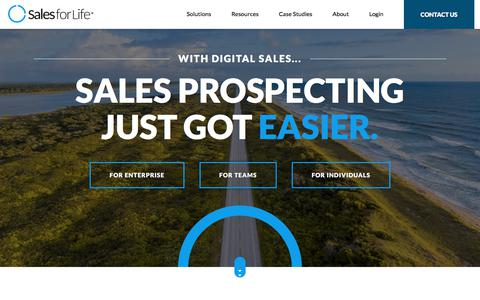 Screenshot of Home Page salesforlife.com - Sales for Life | Modernize Prospecting. Build Pipeline - captured Nov. 18, 2019