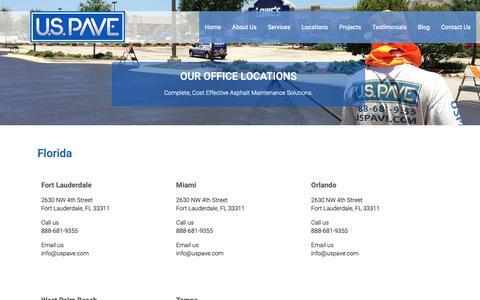 Screenshot of Locations Page uspave.com - U.S. Pave - South Florida Asphalt & Paving Contractors - captured Nov. 5, 2018