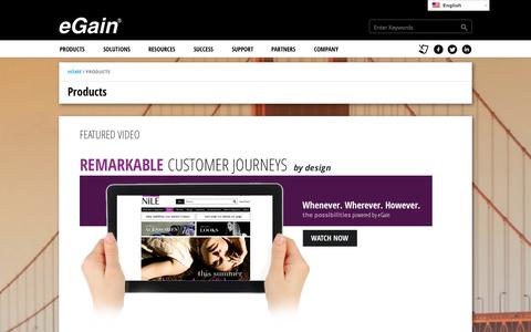 Screenshot of Products Page egain.com - Products – Customer Engagement Solutions | eGain - captured Sept. 18, 2014