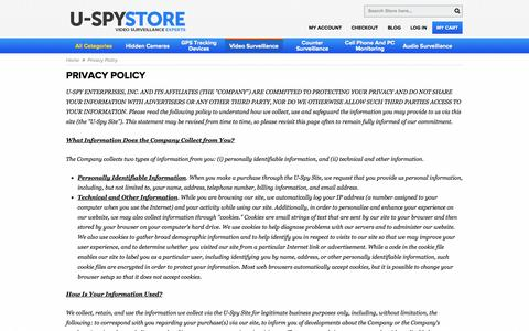 Screenshot of Privacy Page uspystore.com - Privacy Policy - captured Sept. 19, 2014