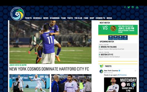 Screenshot of Press Page nycosmos.com - News | New York Cosmos - captured June 2, 2019
