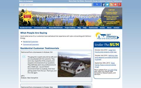 Screenshot of Testimonials Page revisionenergy.com - Customer Testimonials - Maine Solar Energy, Hot Water Installations - captured Oct. 6, 2014