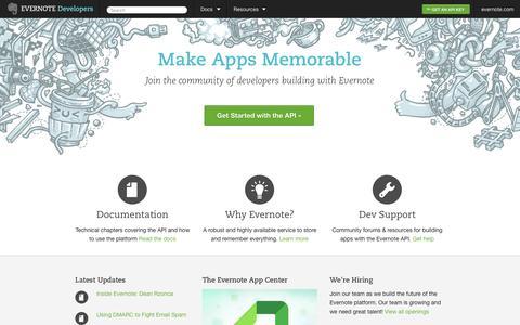 Screenshot of Developers Page evernote.com - Home - Evernote Developers - captured Sept. 16, 2014