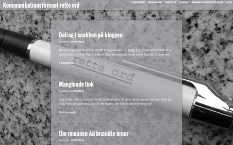 Screenshot of Blog rette-ord.dk - Blog – Kommunikationsfirmaet rette ord - captured Dec. 17, 2016