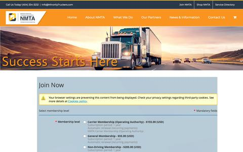 Screenshot of Signup Page minoritytruckers.com - Join – National Minority Trucking Association - captured Oct. 20, 2018