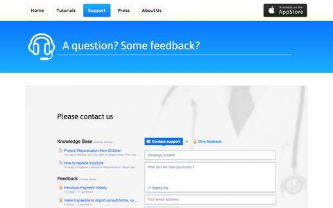Screenshot of Support Page irejuvenation.com - Support - captured Oct. 4, 2014