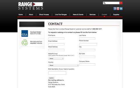 Screenshot of Contact Page range-systems.com - Ballistic Rubber Shooting ranges and live fire shoot houses | Range-Systems - captured Oct. 27, 2014