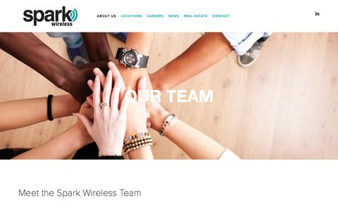 Screenshot of Team Page mysparkwireless.com - Our Team — Spark Wireless - captured Feb. 17, 2019