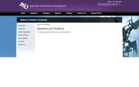 Screenshot of FAQ Page acu.edu - Contact Us - captured Sept. 19, 2014