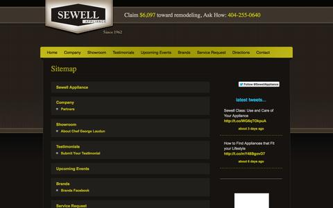Screenshot of Site Map Page sewellappliance.com - Sitemap   Sewell Appliance - captured Oct. 3, 2014