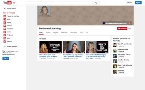 Screenshot of YouTube Page youtube.com - DeliberateReceiving  - YouTube - captured Oct. 23, 2014