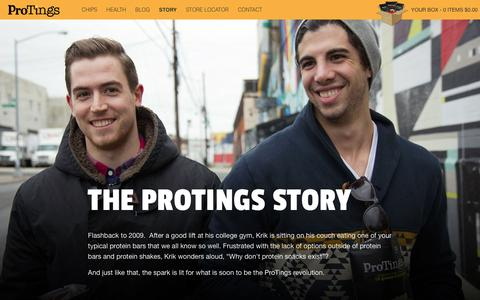 Screenshot of About Page protings.com - The Protings Story – ProTings - GO PRO! - Protein Chips - captured Jan. 30, 2016