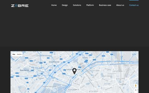 Screenshot of Contact Page zbre.fr - Contact us - ZBRE design develop deploy connected business solutions - captured Feb. 23, 2016