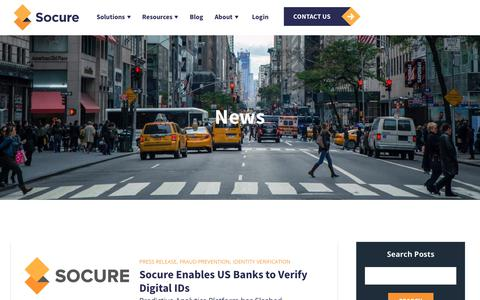 Screenshot of Press Page socure.com - News | ID Verification Services | Socure | Press Release - captured Oct. 18, 2019