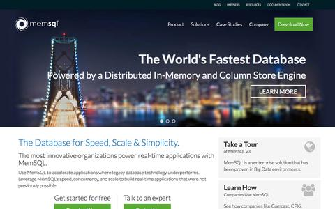 Screenshot of Home Page memsql.com - MemSQL, The World's Fastest Database | In Memory Database | Column Store Database - captured Jan. 14, 2015