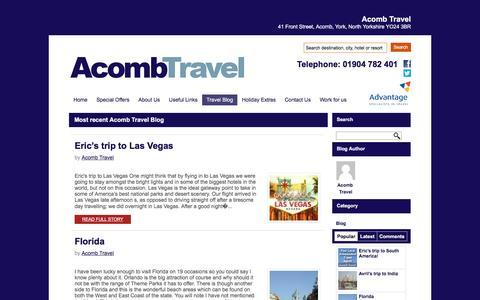 Screenshot of Blog acombtravel.com - Blog - Acomb Travel - Powered by Net Effect - captured March 11, 2016