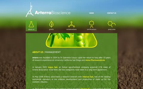Screenshot of About Page arterrabio.it - Arterra Bioscience - about us - captured Oct. 4, 2014
